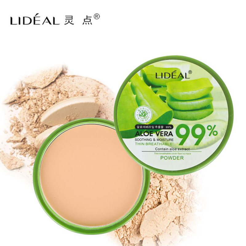 New 99% Aloe Vera Moisturizing Smooth Foundation Pressed Powder Makeup Concealer Pores Cover Whitening Brighten Face Powder