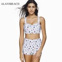 ALANSBEACH White Color High Waist Swimsuit Print Padded Bow Women Bikini Swimwear Beach Padded Beachwear Female