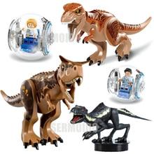 Jurassic Dinosaurs World 2 Carnotaurus Indominus Rex I-Rex Velociraptor Building Blocks Bricks Baby Toys