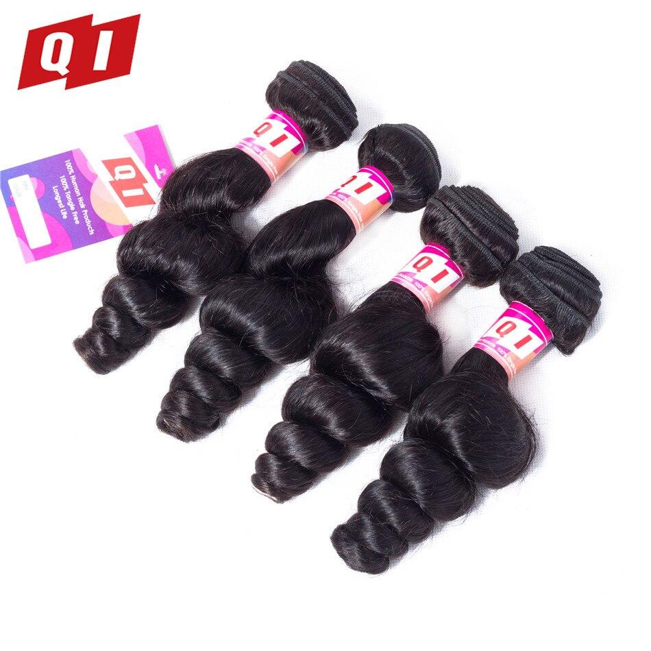 QI Hair Peruvian Loose Wave Hair Weaves 4 Bundles Non-Remy Human Hair Extensions Natural Color Free Shipping