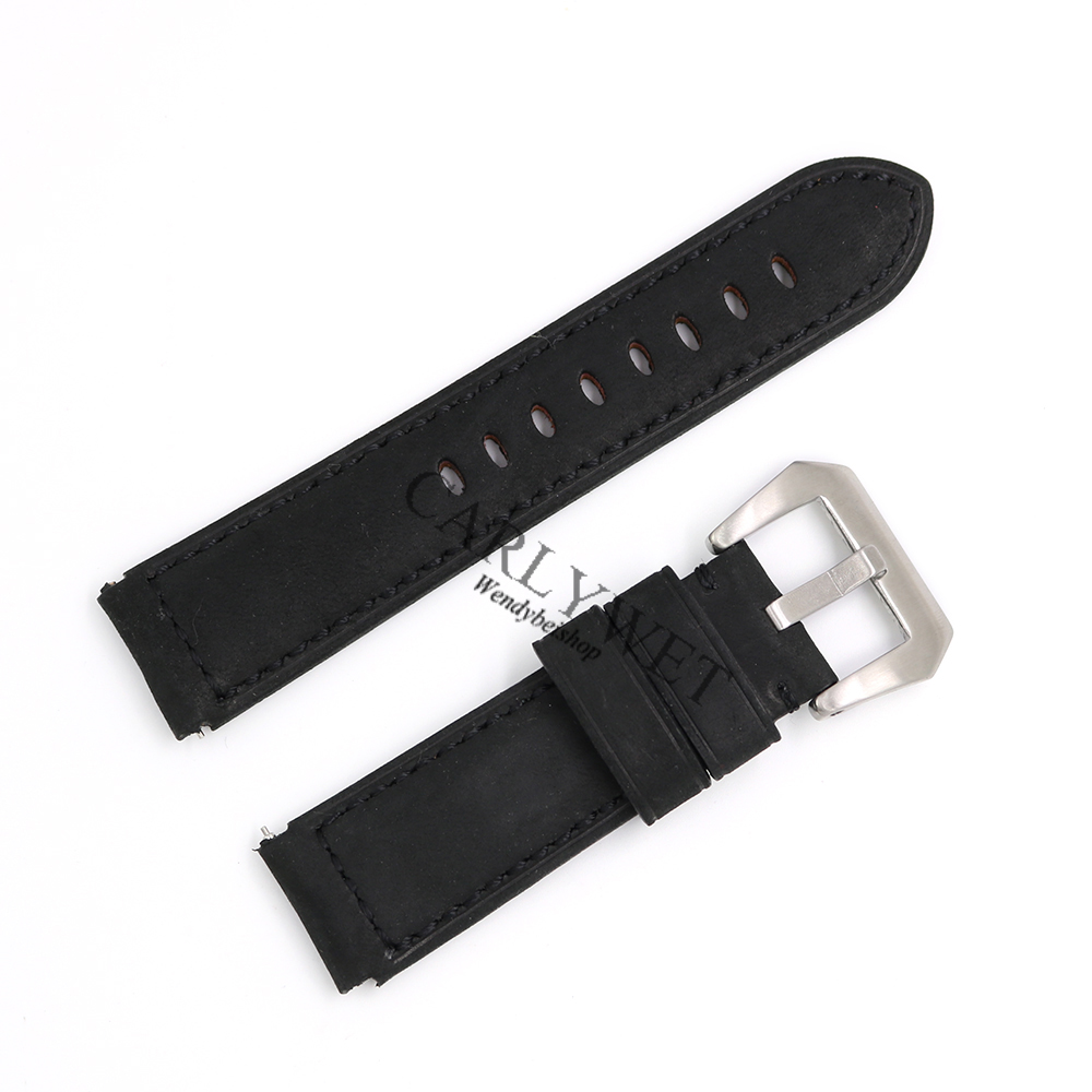 CARLYWET 22mm Wholesale Black Real Leather Handmade Thick Vintage Replacement Wrist Watch Band Strap With Silver Brushed Buckle