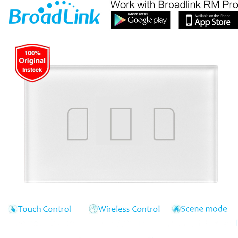 US/AU Standard Broadlink 3 Gang 1 Way Wireless Control Light Switch, LED Wall Switch,Wall Touch Light Switch For Smart Home funry us au standard luxury crystal glass panel touch light switch 1 gang 1 way light switch wall switch for smart home
