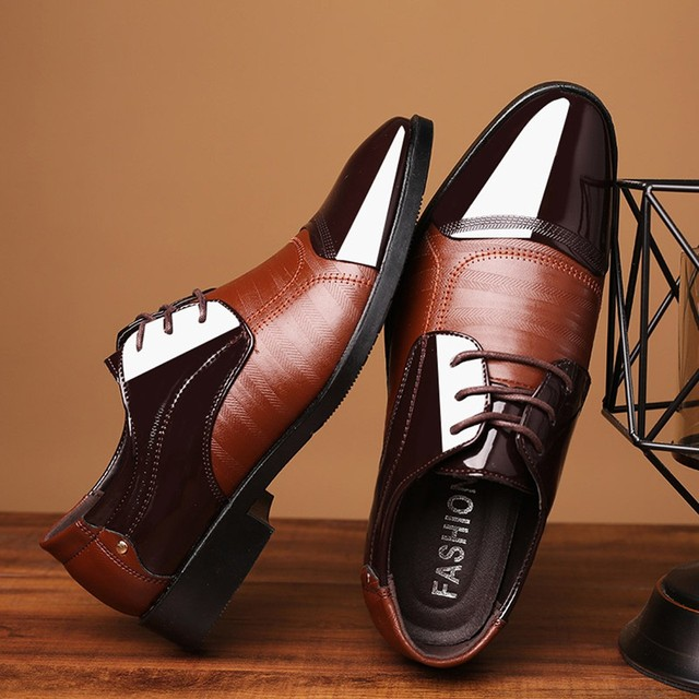 Patent Leather Dress Shoes - Lace Up Leather Lined 2