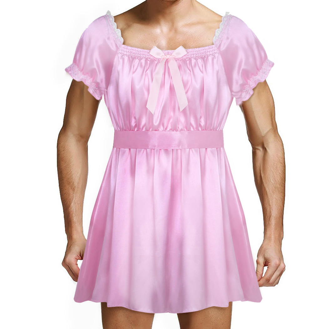 ChicTry <font><b>Gay</b></font> <font><b>Mens</b></font> Sissy Nightwear Sleep Tops <font><b>Sexy</b></font> <font><b>Underwear</b></font> <font><b>Shiny</b></font> Soft Satin High Low Design Crossdress Lingerie Dress with Sash image