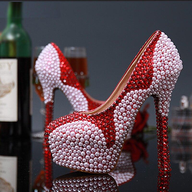 Pearl Diamond Ultra High Heel Pumps Genuine Leather Wedding Shoes Bride Women Waterproof Pumps Wine Red