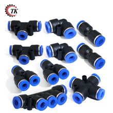 10 Pcs 10mm Air Pneumatic Combo OD Plastic Inline Push To Connect Fittings Kit Pipe Tube Fitting Pneumatic Fittings Set