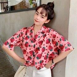 2019 New Women Blouses Holiday Casual Short Sleeve Tops Ladies Strawberry Printed Shirt Korean Summer Fashion Women Clothing 2