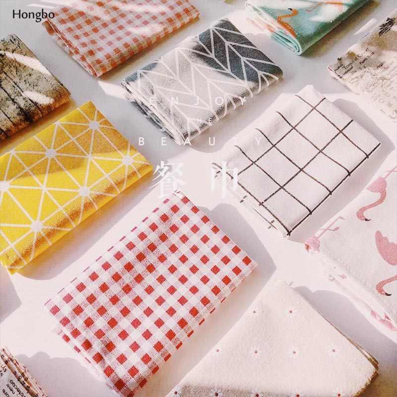 Hongbo 1 Pcs Plaid Cotton Placemat Japanese Fashion Style Fabric Table Mats Napkins Simple Design Tableware Kitchen Tool