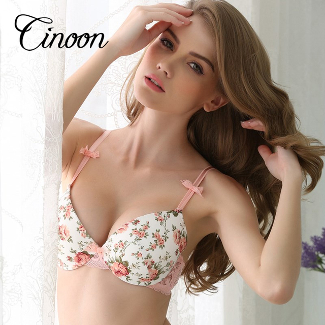 Famous Brand Sexy High Quality Women Print Bra set Silk Lace Flower Push up Big size Underwear Bow Bra and Hollow out Panties