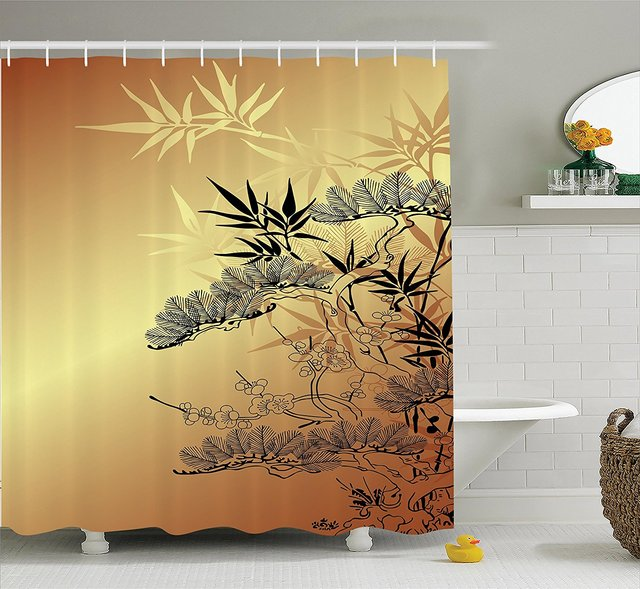 WARM TOUR Asian Style Branches and Bamboo Motifs Fashion Shower ...