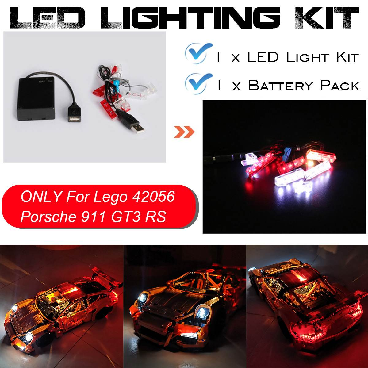 LED Lighting Kit for Lego for 42056 for Porsche 911 GT3 RS Toy Bricks Car Lighting Parts Powered by USB ( Model Not Included ) 5