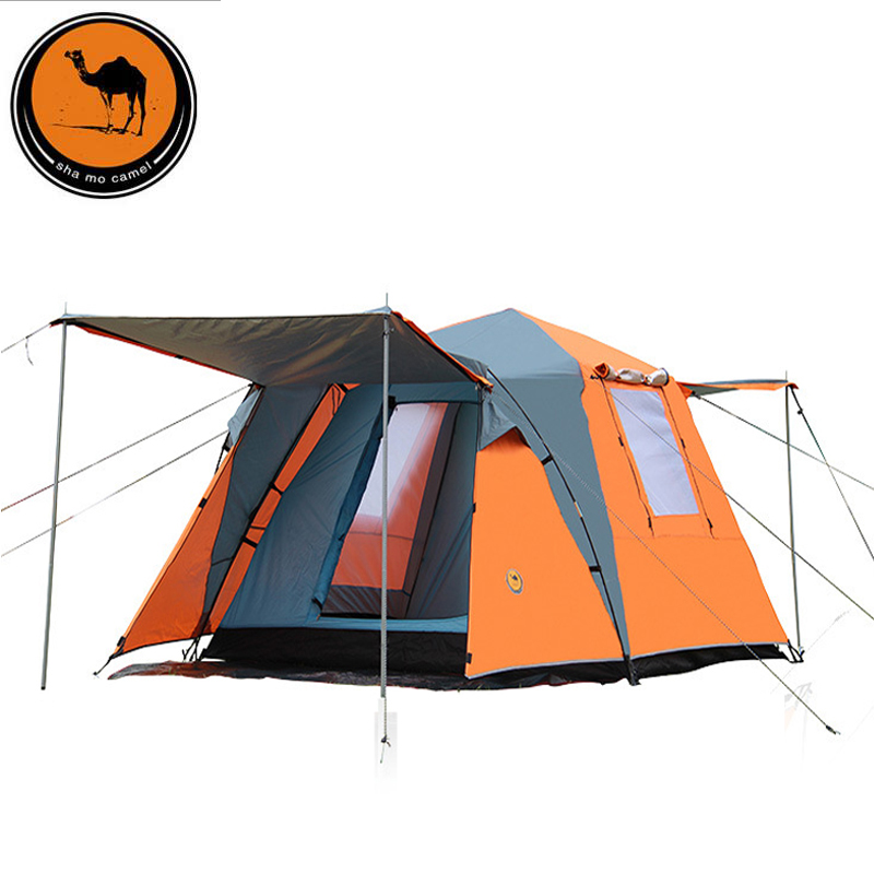 DESERT CAMEL Large Outdoor Recreation Camping Tent 4 Person Double Layer Rainproof Windproof Tourist Party Awning Automatic Tent large camping tents outdoor recreation 8 10 person party family tent tourist fishing awning tent waterproof mosquitoes net
