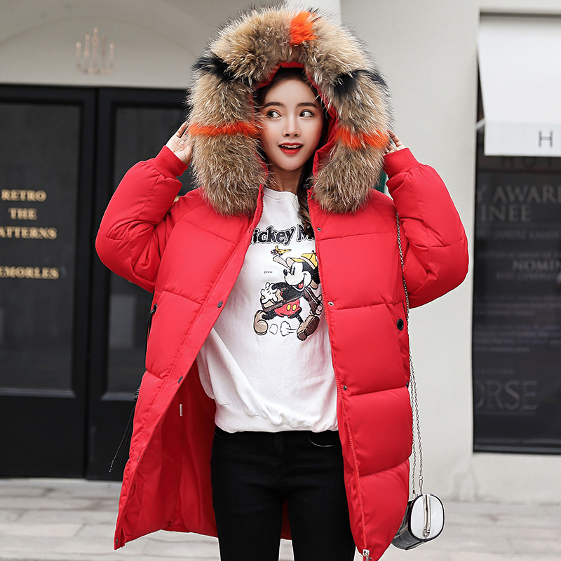 red Jacket Black Collar Parkas green Fur Long Femmino Size Cotton rust Winter Red Hooded Autumn Women Slim Large Coat Casual Plus caramel New2018 white Outwear Fashion 1q6F6