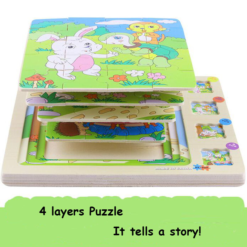 4 layers Wooden Puzzle Board Cute Animals Cartoon Puzzle Toy Wood Tangram Jigsaw Board Educational Toy for Children Puzzle Game