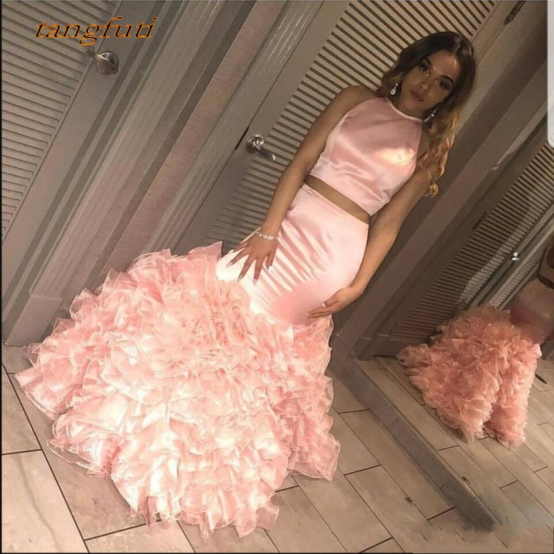 Pink Two Piece   Evening     Dresses   Long 2019 Mermaid Ruffles Backless Special Occasion   Dresses   Formal   Evening     Dresses   Wear Vestid