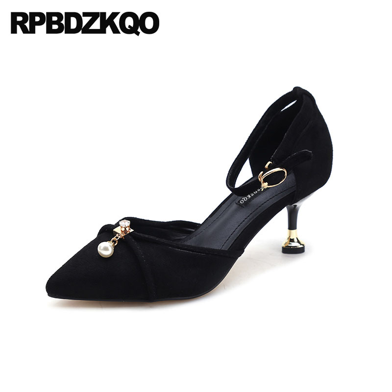 522d0d4da4f Prom Rhinestone Kitten 2018 Medium Heels Black Pointed Toe Cheap Suede  Office Pearl Ankle Strap Ladies Yellow Shoes Size 4 34