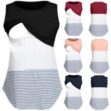 Женская пижама для беременных, рубашка для беременных, полосатая блузка без рукавов для беременных, одежда, Футболка для беременных, Пижама, лактансия