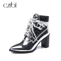 CZRBT 2018 New Winter Spring Women Boots High Top Ankle Shoes Best Cow Leather Bling Elegant