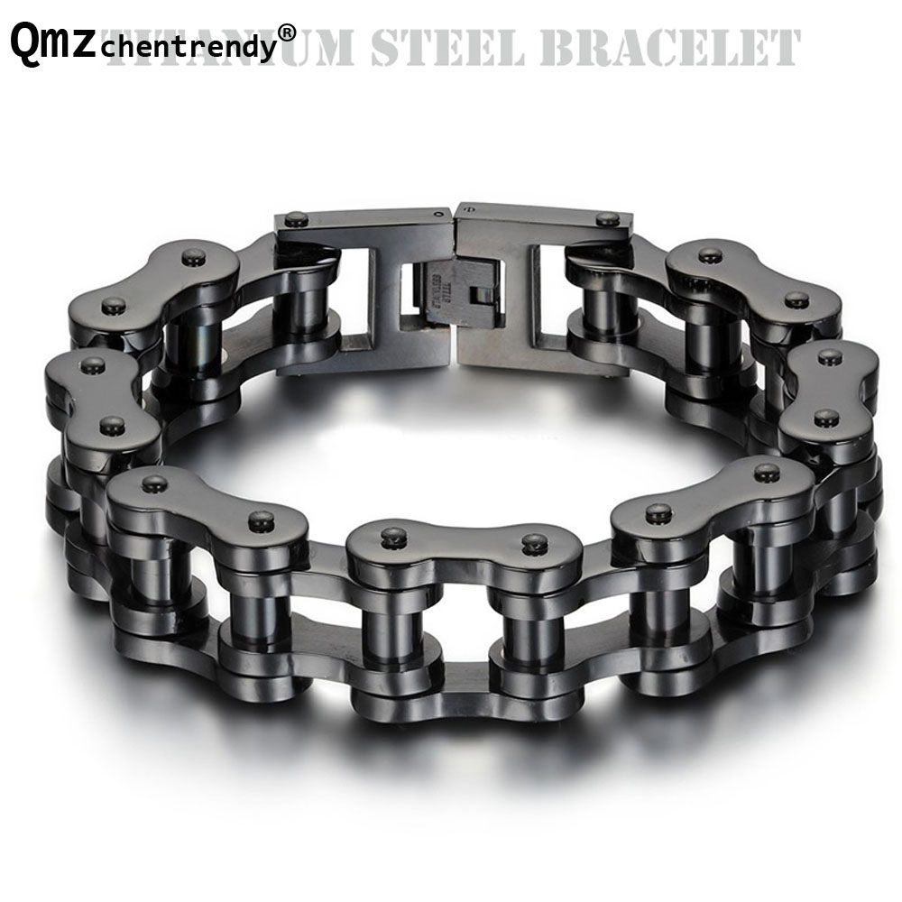 Top Quality Titanium IP Black Plated Biker Bicycle Chains Bracelets Punk Wristbands High Polished Brace lace Mens Bangles 23cm