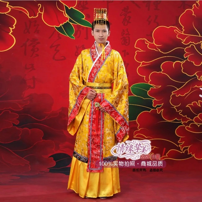 Yellow Chinese Man Han Clothing Emperor Prince Show Cosplay Suit Robe Costume Minister Traditional Ancient Dress Free Shipping