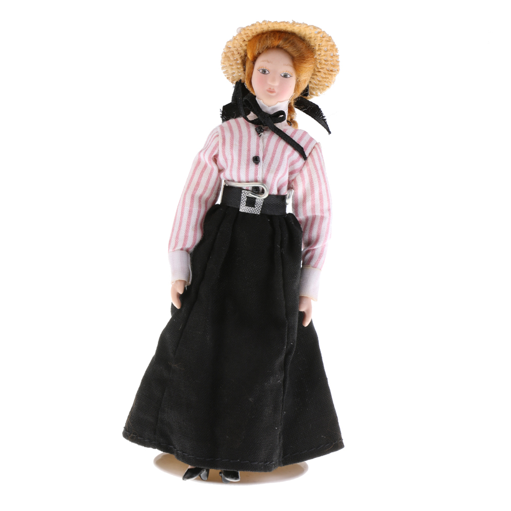 1:12 Dollhouse Miniature Porcelain Doll Victorian Lady in Striped Clothes Toy for Kids Adult Collectible Xmas Birthday Gift 1
