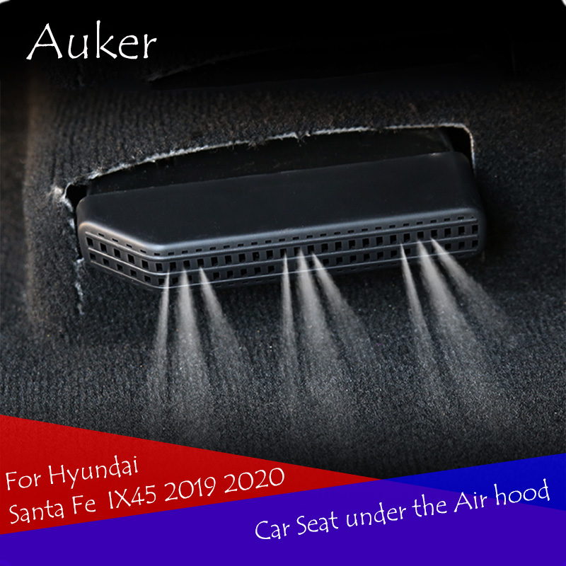 Car Under Seat Floor Air Conditioning AC Heater Air Vent Outlet Cover Sticker Grille Mat Frame For Hyundai Santa Fe IX45 2019
