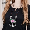 Fashion Necklace Women Charm Beads Tassels Embroidery Necklaces & Pendants Vintage Maxi Statement Jewelry Accessories Bijoux