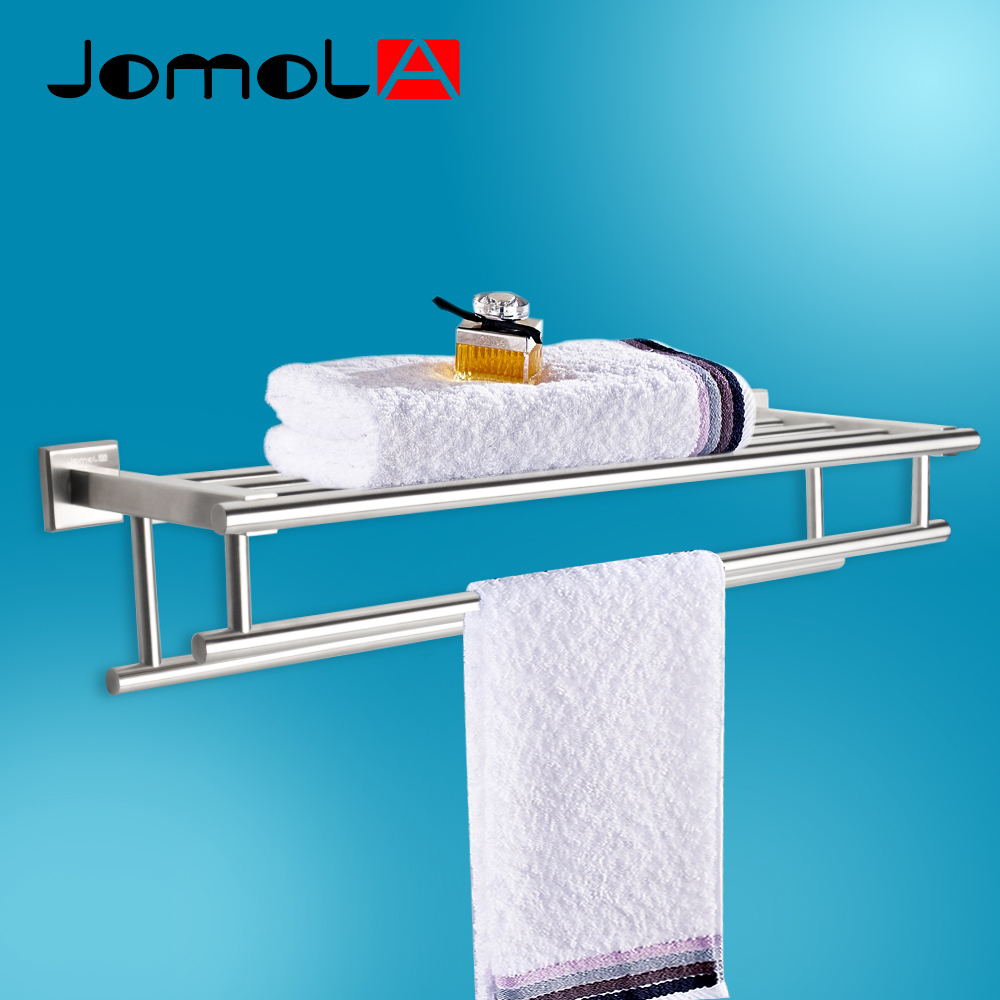 JOMOLA 304 Stainless Steel Double Towel Rack Square Style Bath Towel ...