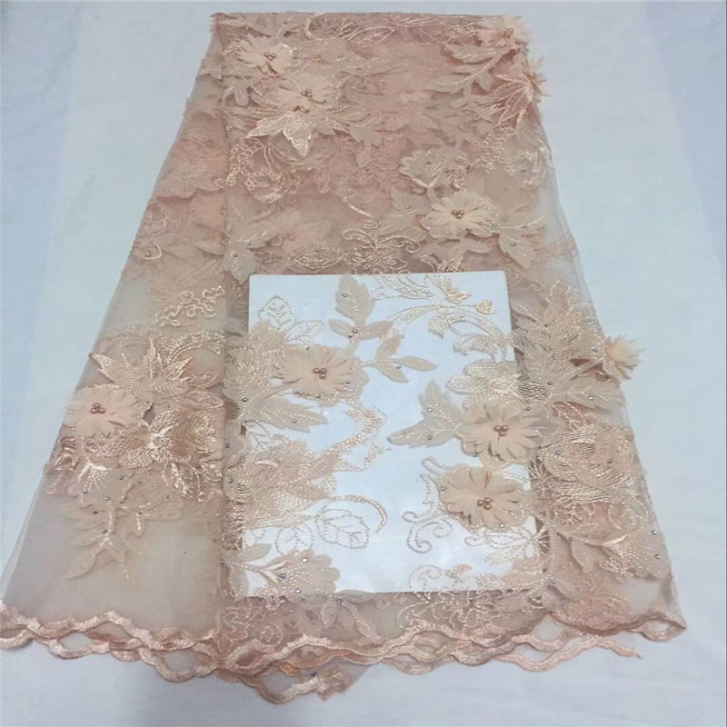 2018 Beautiful peach  high quality popular african 3D flower french lace fabric with beads Nigerian lace fabric for wedding2018 Beautiful peach  high quality popular african 3D flower french lace fabric with beads Nigerian lace fabric for wedding