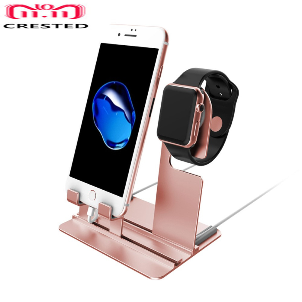 CRESTED Charger stand dock For Apple Watch 42mm/38mm iwatch 4 3 2 1 iPhone 8 X 8Plus Samsung S8 S8 Charging Dock Station Stand magnetic charging for apple watch 4 3 2 1 iwatch 42mm 38mm 1 0ft 0 3m usb certified charger chargingcable 1m