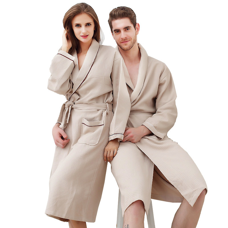 Unisex summer bathrobe thin women waffle couple sleeve Korean sweat-absorbent!!!