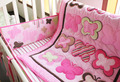 7 Pieces Three-dimensional butterfly embroidery cotton baby bedding set Quilt Bumper Mattress Cover bedskirt crib bedding set