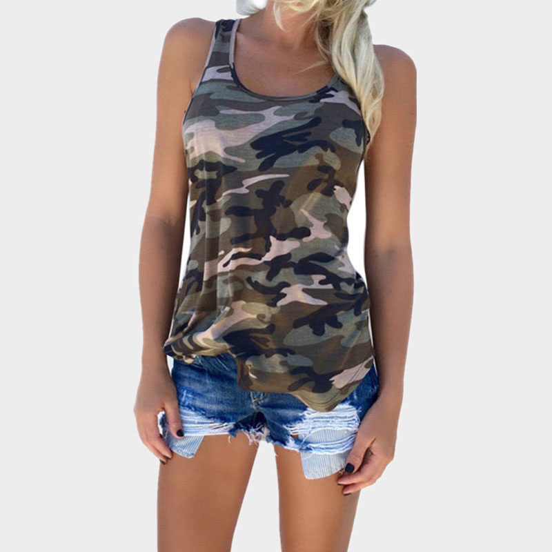 Womens Camouflage Hunting Vests Casual T Shirt Summer Camo Cami Sleeveless Tanks Top Vest Short  Running Fitness Yoga Clothes (4)