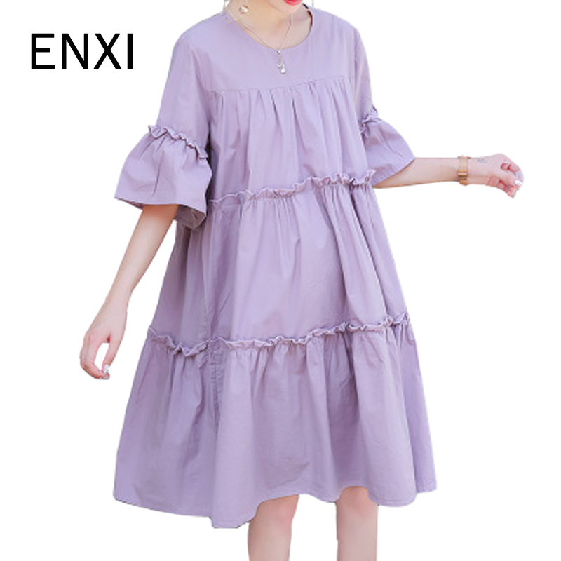 ENXI Pure Color 100% Cotton Summer Maxi Maternity Dresses Clothes Casual Pregnancy Wear Loose Sundress Pregnant Mothers Dress