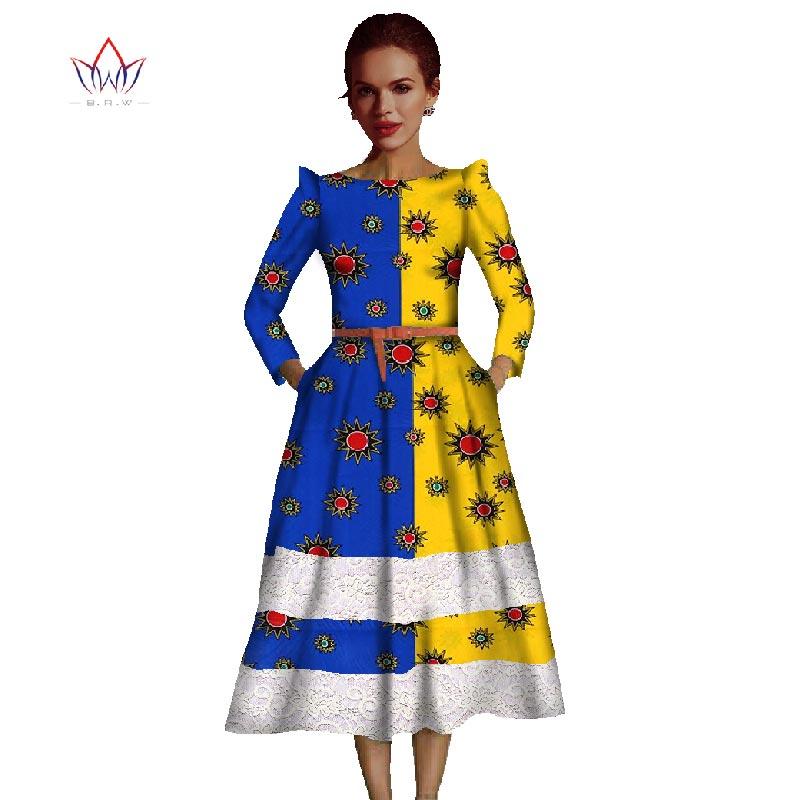 Krajkové šaty 2019 africké podzimní společenské šaty krajkové lomítko krku mix zápasové šaty krajky střední lýtka dlouhé šaty pro ženy WY465