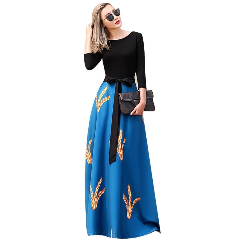 High Quality 2017 New Designer Female Patchwork Blue Black Slim Print Maxi Dress Women Floor Length