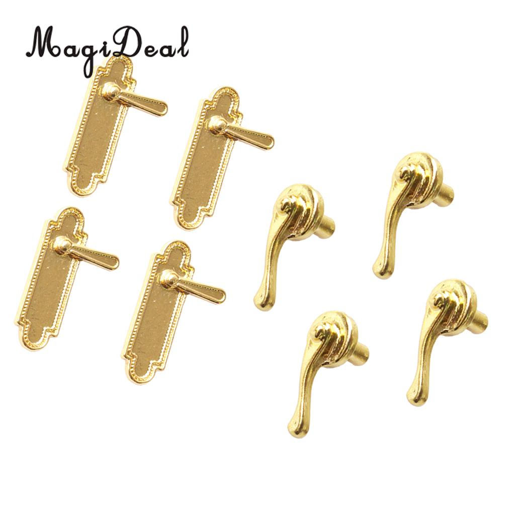MagiDeal 8Pcs/Pack Dollhouse Miniatures Alloy Door Pull Handles Locks 1/12 Dolls House Accs For Children Kids DIY Mini Toy Gold
