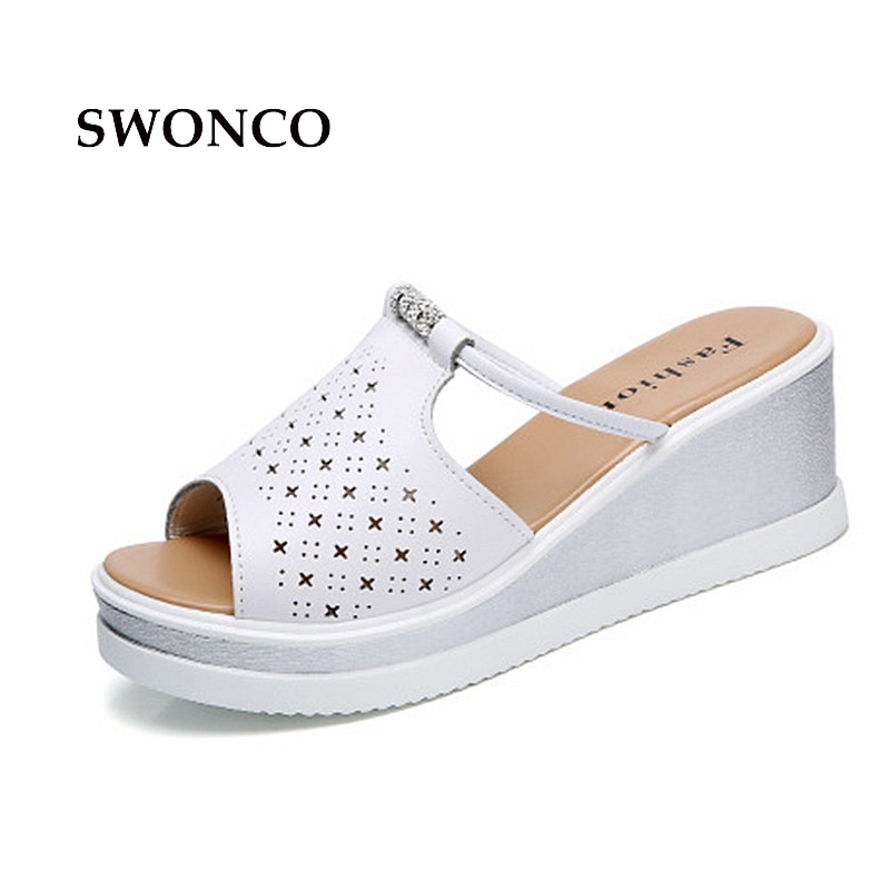 SWONCO Women's Slippers Shoes 2018 Summer 6.5cm High Heels Ladies Shoes Women Slippers Sandals Platform Hollow Out Woman Slides swonco women s slippers half shoes candy color breathable female slipper 2018 woman slippers summer sandals ladies beach shoes