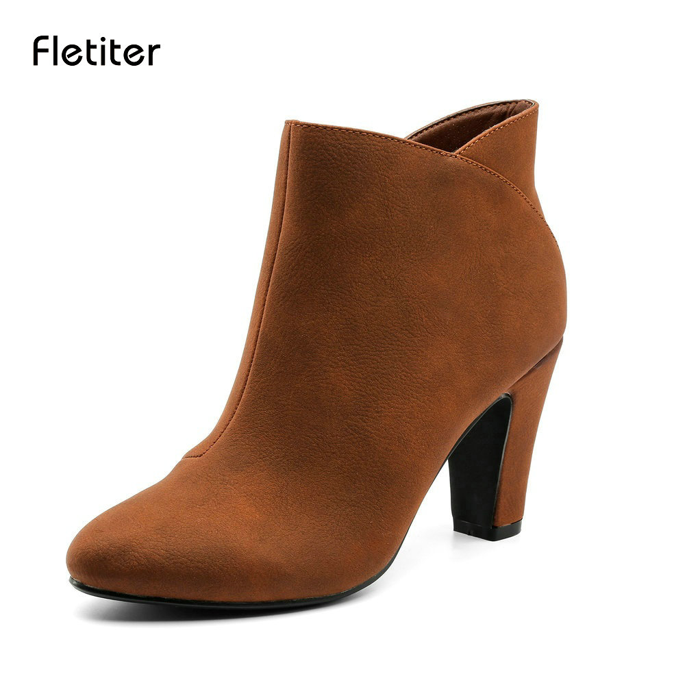 Fletiter New Elegant Women Boots Ankle Spike Heels Pointed Toe Brown Winter Boots Women Shoes High Heels Designer Ankle Boots 2017 solid black winter spring women shoes slip on pointed toe spike high heels ankle boots women free ship size 9 12