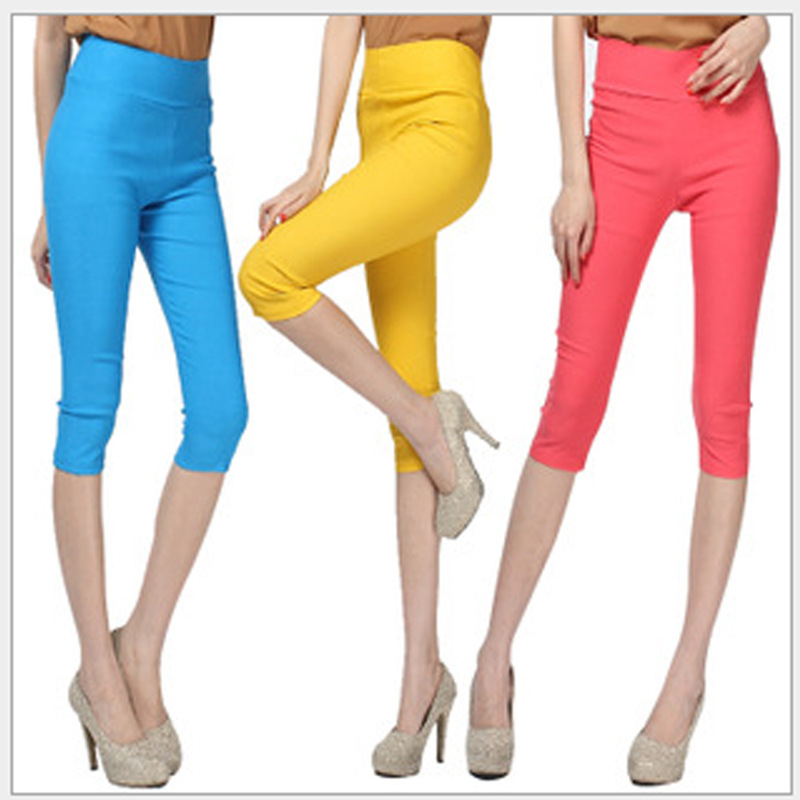 Low-priced sale 2017 Summer style  summer candy color capris legging women trousers female thin plus size high waist