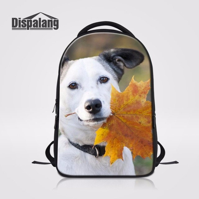 ac0ed9a357a3 US $33.92 30% OFF|Dispalang Campus Back Pack Maple Leaves 3D Printing Women  Travel Rucksack Notebook Laptop Backpack Cute Pet Dog Casual Bagpack-in ...
