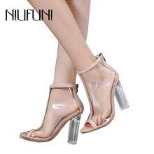 купить NIUFUNI Fashion Peep Toe High Heels Women Sandals Back Zipper Block Clear Ankle Booties Summer PVC Transparent Pumps Shoes по цене 1497.45 рублей