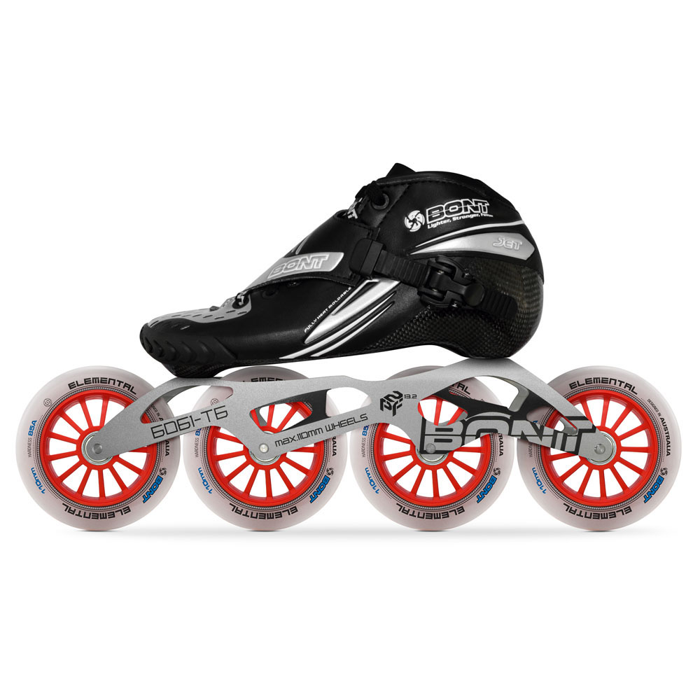 2019 Original Bont Jet 2PT Speed Inline Skates Heatmoldable CarbonFiber Boot 4*90/100/110mm 6061 Elemental Wheel Skating PatinesSkate Shoes   -