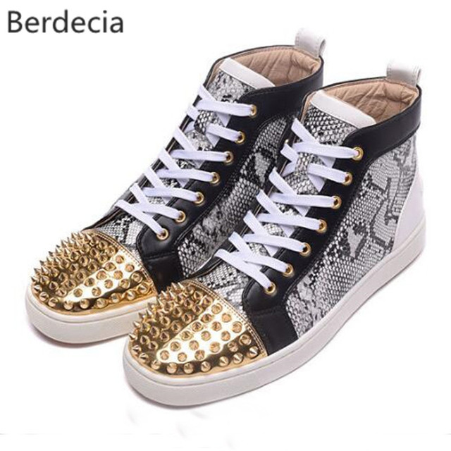 Shoes Men 's Casual Shoes Lace Up Round Toe Leather Spikes Shoes MZRVD85