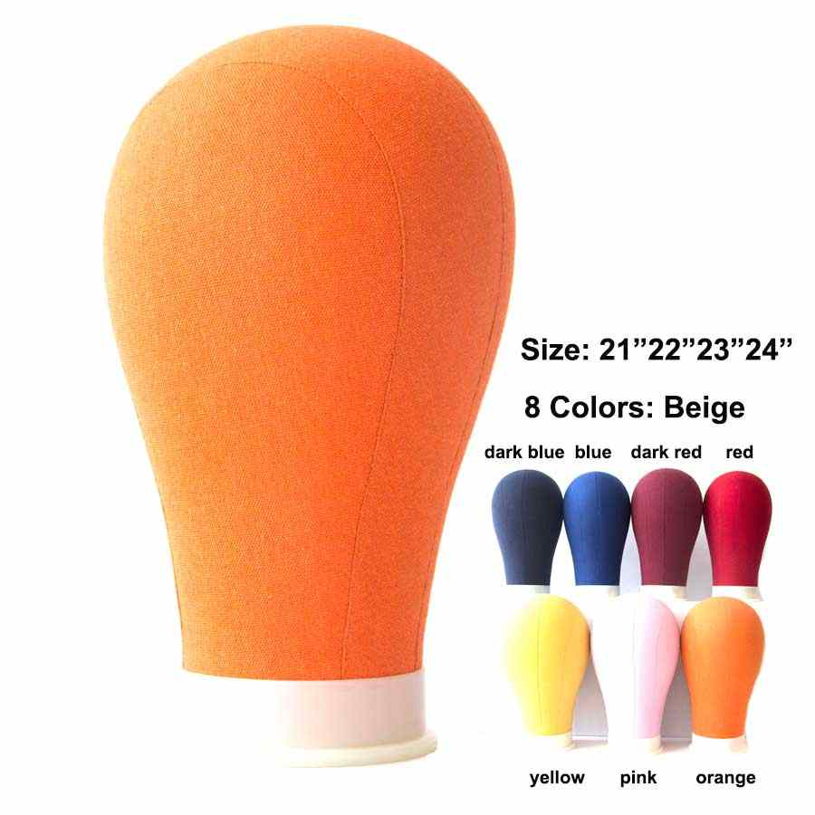 21/22/23/24 Inch Regenboog Kleur Canvas Blok Mannequin Hoofd Pruik Stand Maken Hoofd Haar Styling Oefenpop Hoofd voor Pruik Display