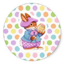 Pegatina redonda clásica de conejo de Pascua de 1,5 pulgadas 1