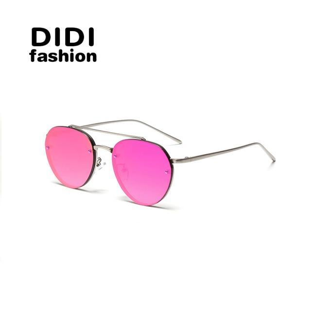 18c0cdde78 DIDI Sin Montura Redonda Rosa gafas de Sol Mujeres Hombres Marca de Lujo Ladies  Gafas de