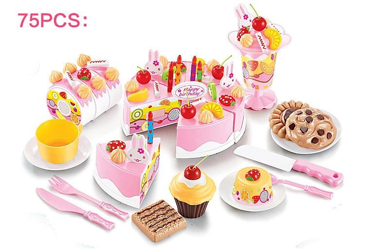 75pcs/set children's play house toys Simulation fruit cake kitchen Cooking pink mousse cake Model Utensils fake cake Toys