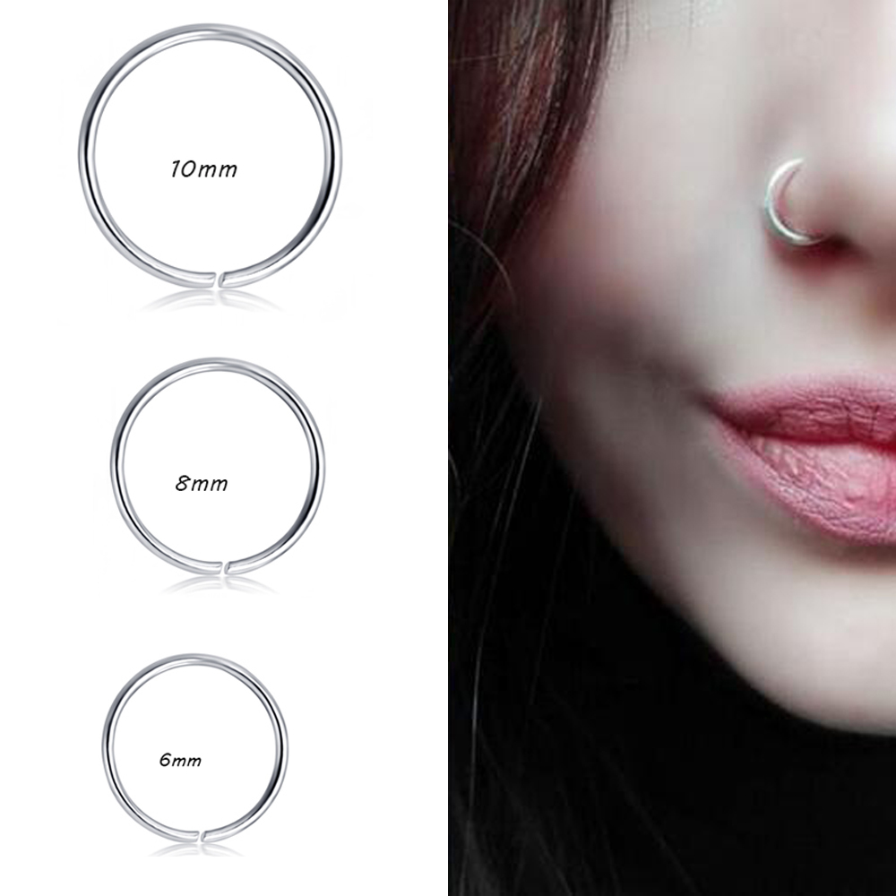 74c63a898f50a TIANCIFBYJS Stainless 20g Cartilage Hoop Tragus Earrings for Women Men Nose  Ring Helix Septum Clicker Piercing Body Jewery 1pcs