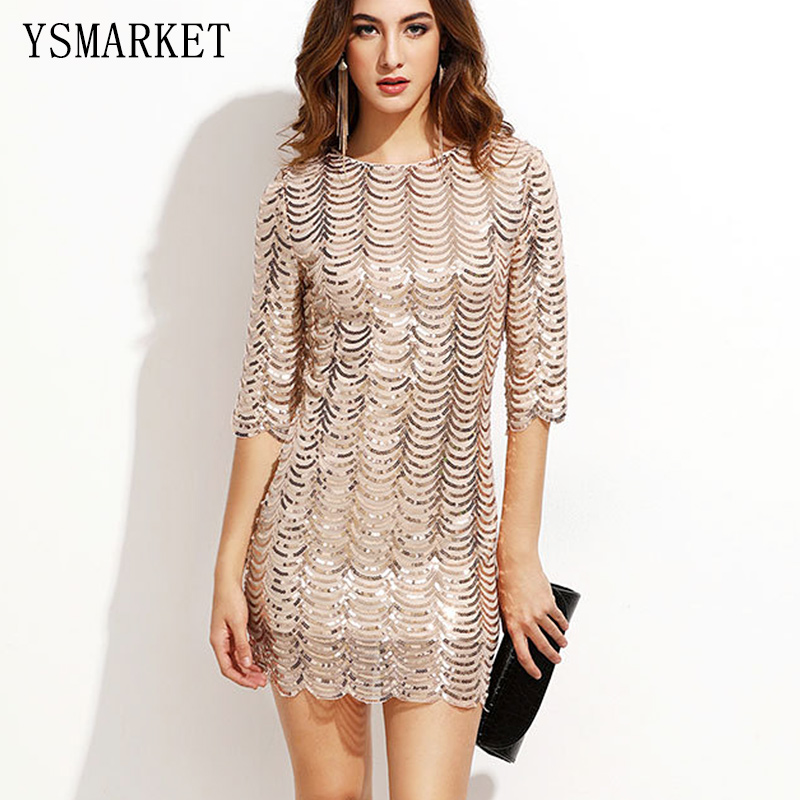 2018 Spring Party Gold Wave Sequin Dress Women Glittering Half Sleeve Bla Sheer Shift Cut Out Sequin Mesh Straight dress E1790 star sequin sheer mesh top